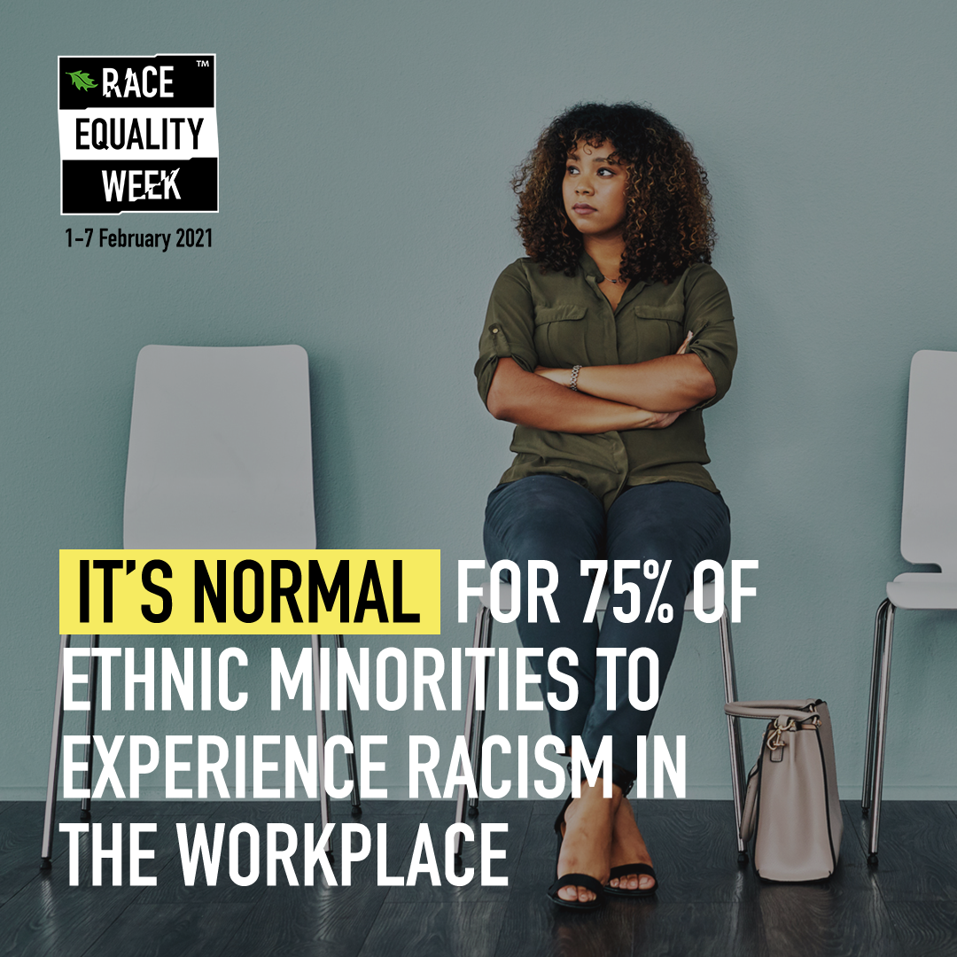 Female looking despondent. Text, Its normal for 75% of ethnic minorities to experience racism in the workplace