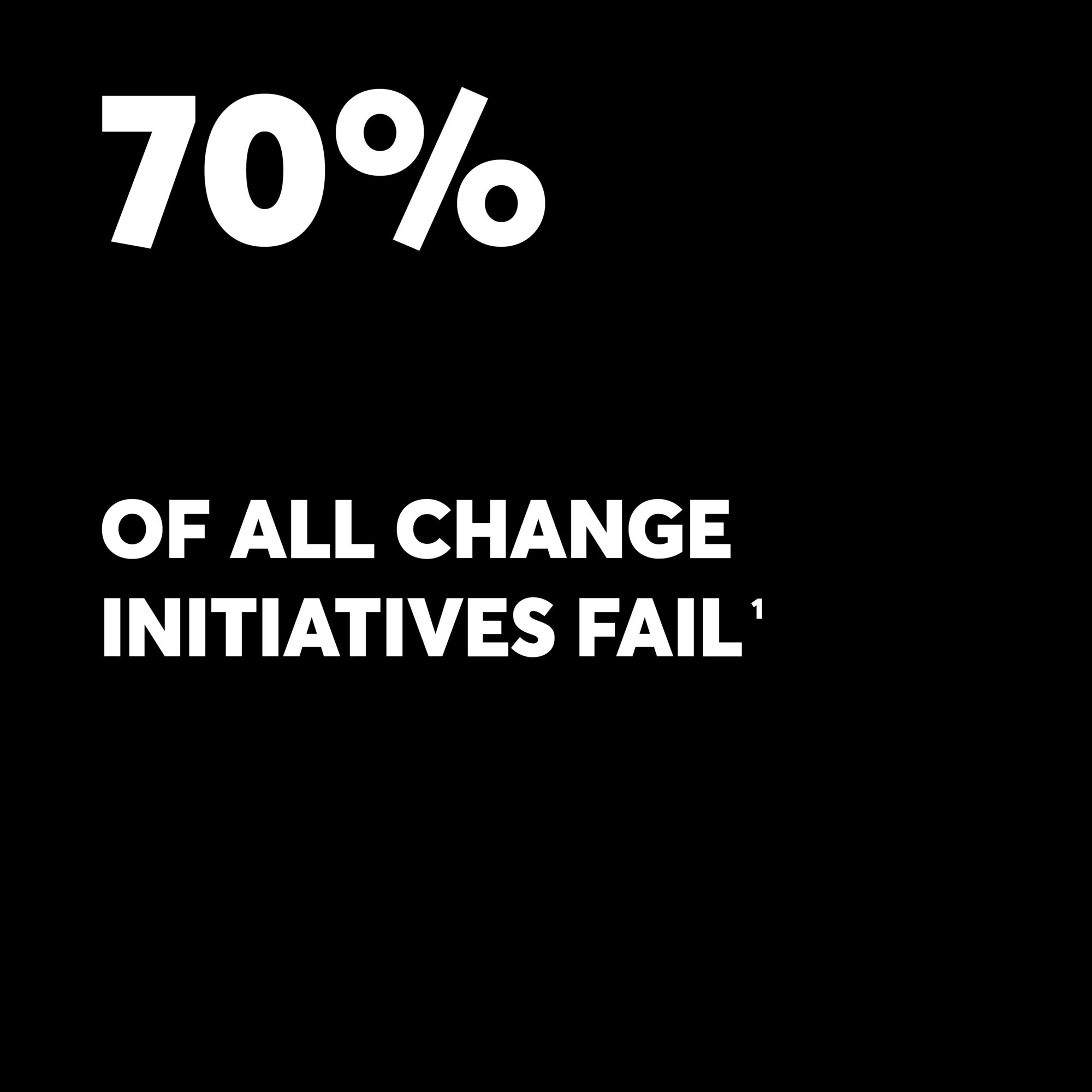 white text on black background saying 70% of all change initiatives fail